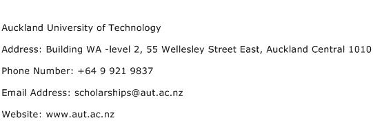 Auckland University of Technology Address Contact Number
