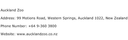 Auckland Zoo Address Contact Number