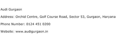 Audi Gurgaon Address Contact Number