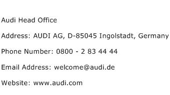 Audi Head Office Address Contact Number