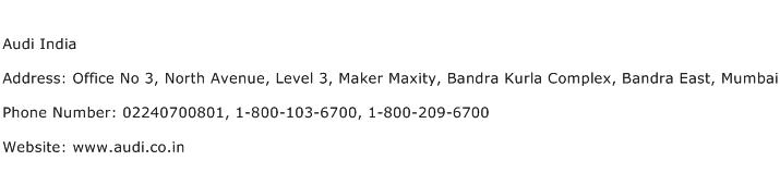 Audi India Address Contact Number