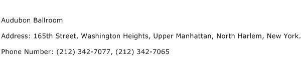 Audubon Ballroom Address Contact Number