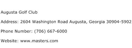 Augusta Golf Club Address Contact Number