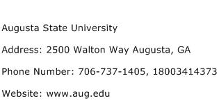 Augusta State University Address Contact Number