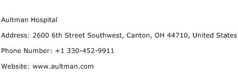 Aultman Hospital Address Contact Number