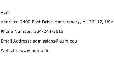 Aum Address Contact Number