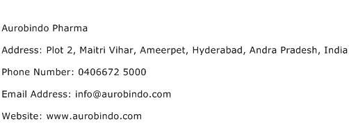 Aurobindo Pharma Address Contact Number