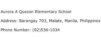Aurora A Quezon Elementary School Address Contact Number