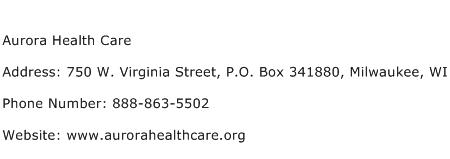 Aurora Health Care Address Contact Number