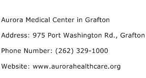 Aurora Medical Center in Grafton Address Contact Number