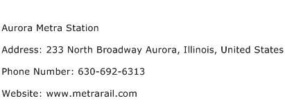 Aurora Metra Station Address Contact Number