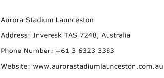 Aurora Stadium Launceston Address Contact Number