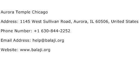 Aurora Temple Chicago Address Contact Number