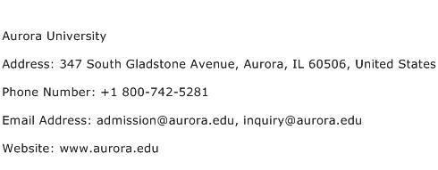 Aurora University Address Contact Number
