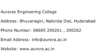 Auroras Engineering College Address Contact Number