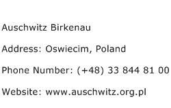 Auschwitz Birkenau Address Contact Number