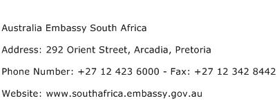 Australia Embassy South Africa Address Contact Number