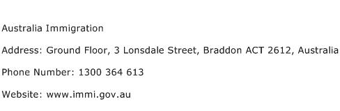 Australia Immigration Address Contact Number