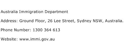Australia Immigration Department Address Contact Number