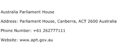 Australia Parliament House Address Contact Number