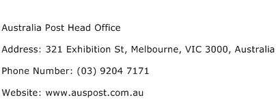 Australia Post Head Office Address Contact Number