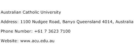 Australian Catholic University Address Contact Number