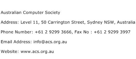 Australian Computer Society Address Contact Number