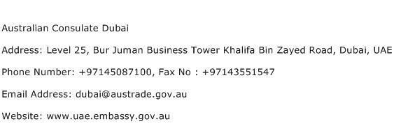 Australian Consulate Dubai Address Contact Number