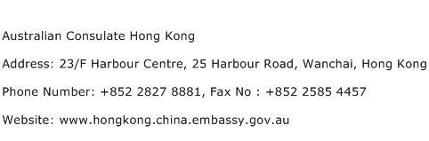 Australian Consulate Hong Kong Address Contact Number