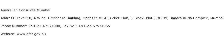 Australian Consulate Mumbai Address Contact Number