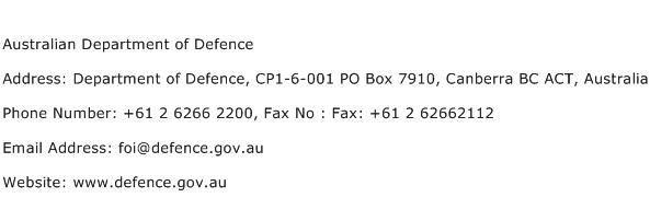 Australian Department of Defence Address Contact Number