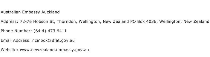 Australian Embassy Auckland Address Contact Number