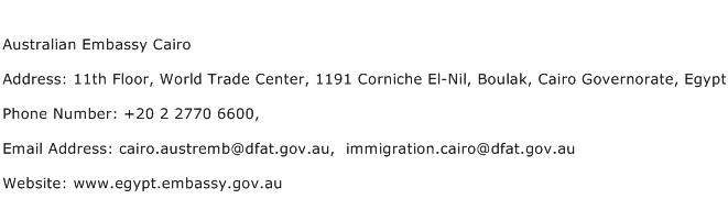 Australian Embassy Cairo Address Contact Number