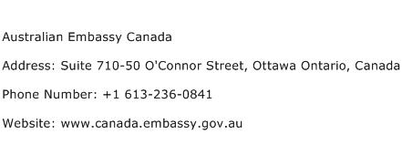 Australian Embassy Canada Address Contact Number