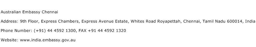 Australian Embassy Chennai Address Contact Number