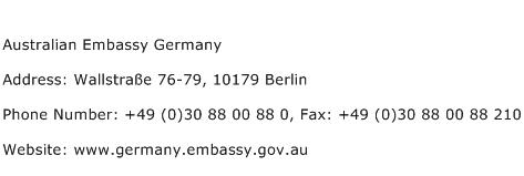 Australian Embassy Germany Address Contact Number