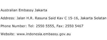 Australian Embassy Jakarta Address Contact Number