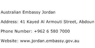 Australian Embassy Jordan Address Contact Number