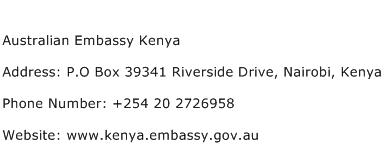 Australian Embassy Kenya Address Contact Number