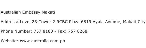 Australian Embassy Makati Address Contact Number