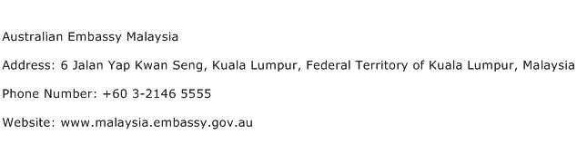 Australian Embassy Malaysia Address Contact Number