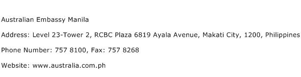 Australian Embassy Manila Address Contact Number