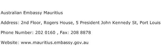 Australian Embassy Mauritius Address Contact Number