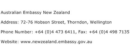 Australian Embassy New Zealand Address Contact Number