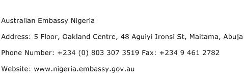 Australian Embassy Nigeria Address Contact Number