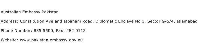 Australian Embassy Pakistan Address Contact Number