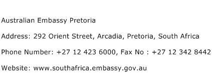Australian Embassy Pretoria Address Contact Number