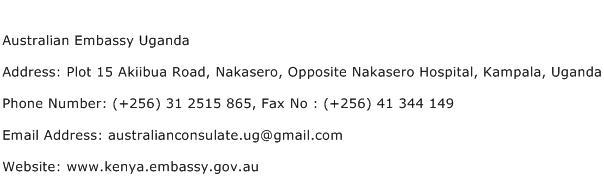 Australian Embassy Uganda Address Contact Number