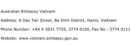 Australian Embassy Vietnam Address Contact Number