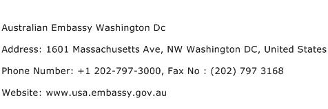 Australian Embassy Washington Dc Address Contact Number